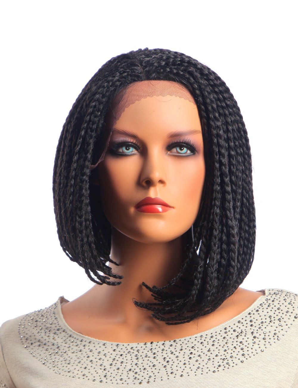 Ufine Straight Bob Box Braid Wig Realistic Baby Hair Synthetic Braided Front Lace Wig For Black