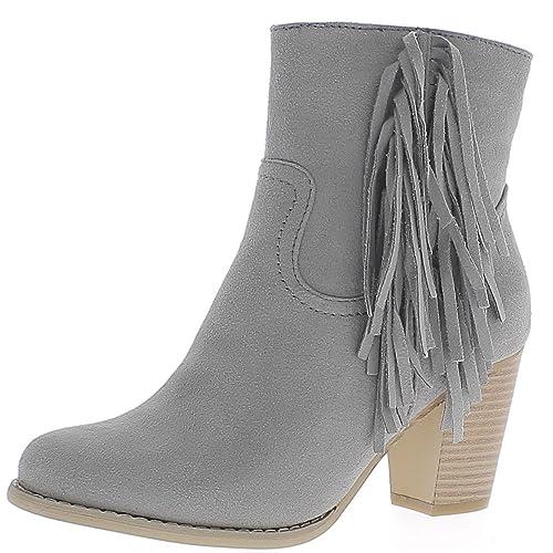 Gris botas con flecos gamuza gruesa 7cm Ver talón forrado - 36 W2EZYzYw