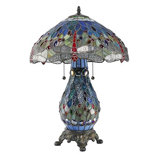 1908 Studios Blue DragonflyTiffany Table Lamp w Lit Base