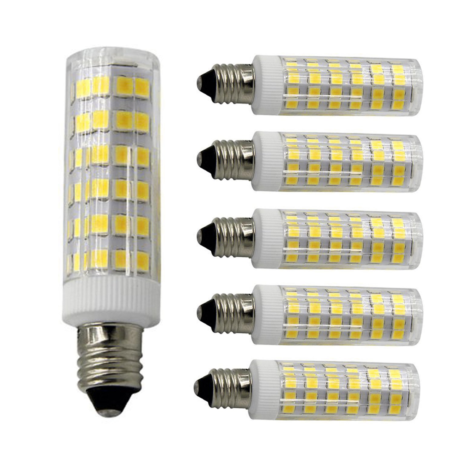 Armynetwork E11 LED Light Bulb 4W to 5W, 40W or 60W, 110v/120v/130v Halogen Bulbs Equivalent,Mini Candelabra JD,Warm White 3000K, Replaces T4/T3 JD Type Clear E11 Light Bulb (5 Pack)
