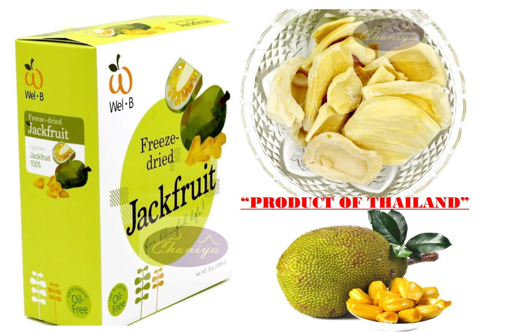 Crispy freeze dried fruit Jackfruit Healthy Snack 100% all Natural Oil-Free 1 Box 25 g. (0.88 Oz)
