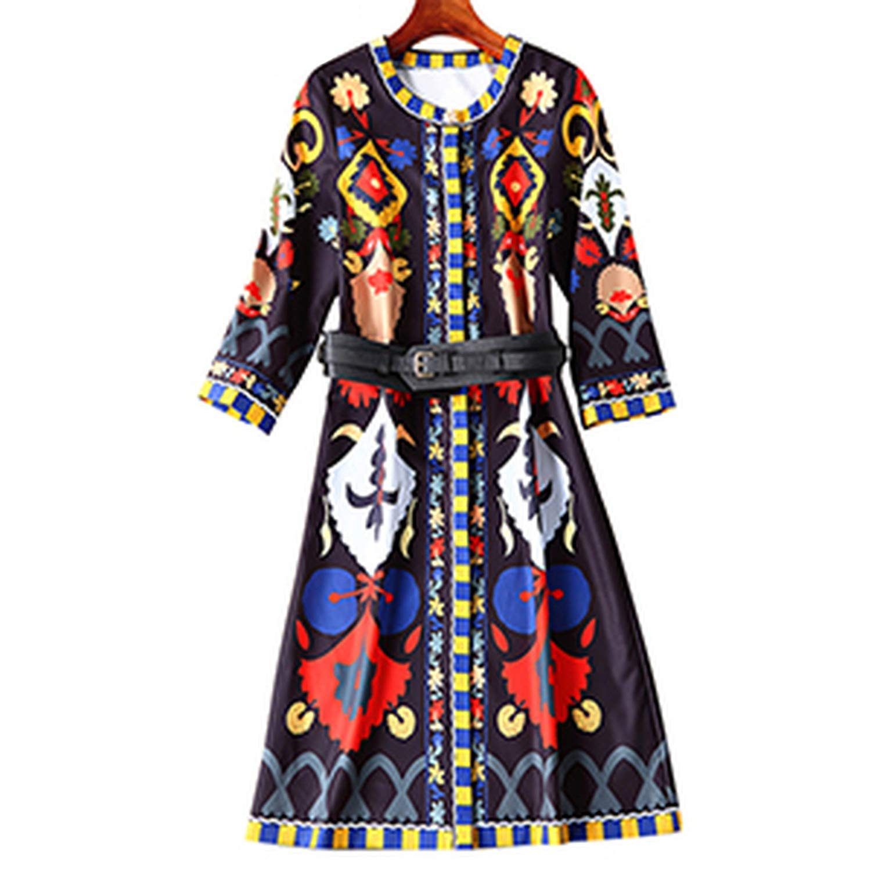 Fashion Sashes Straight Dresses ONeck Print Indie Folk Temperament Slim Dress,Multi,XL
