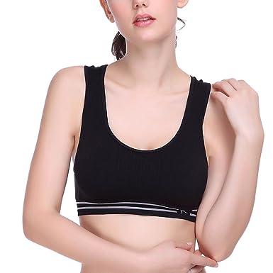 SUNNY Secret las mujeres y espalda sin costuras Yoga Running Workout Sports sin sujetador, Mujer, negro, medium: Amazon.es: Deportes y aire libre