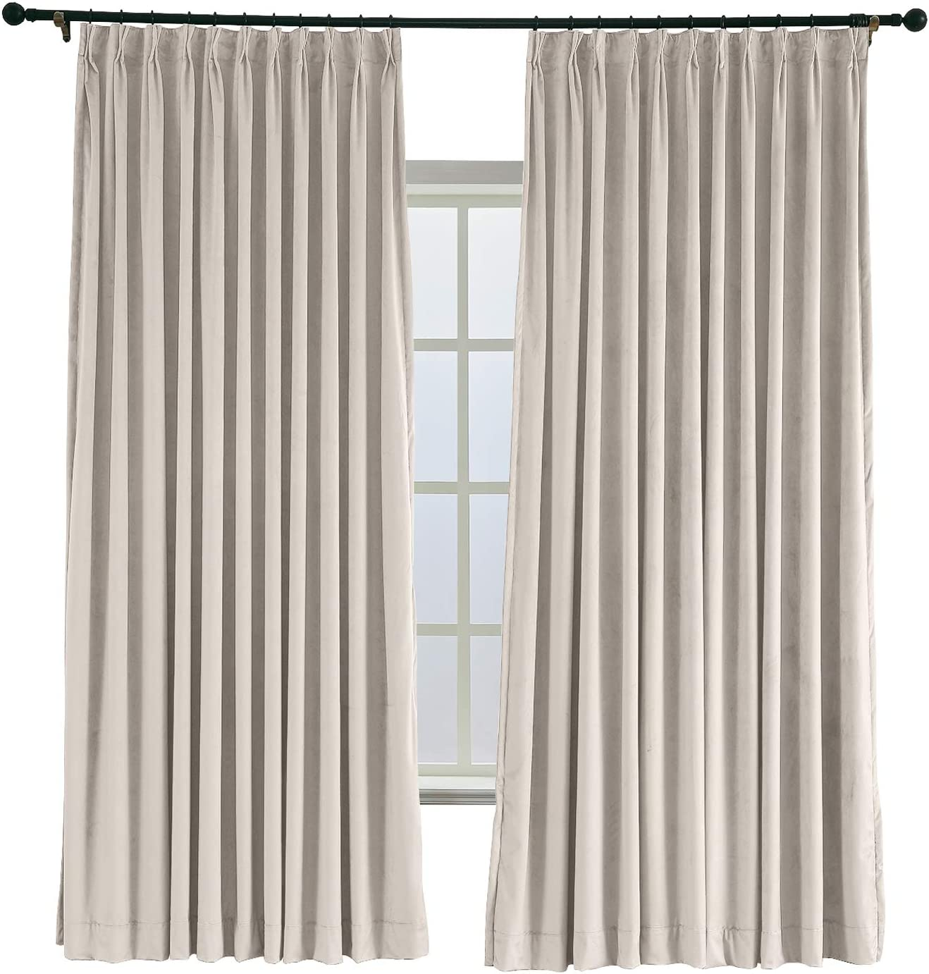 ChadMade Pinch Pleated 72W x 96L Velvet Lined Choice New sales Blackout Curtain D