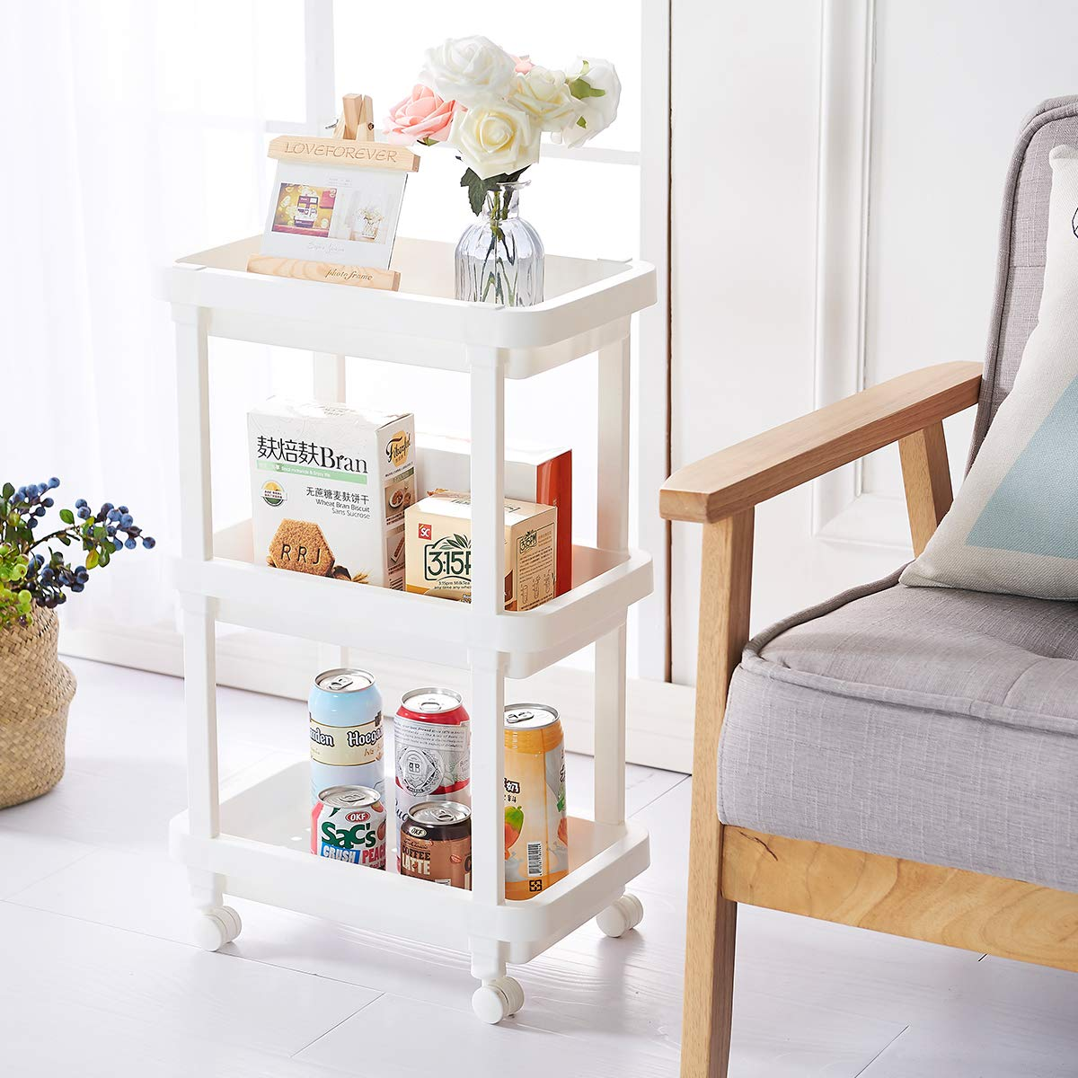 3-Tier Slide Out Storage Cart Rolling Utility Cart Storage Shelf Rack for Kitchen Living Room Bathroom Laundry Room & Dressers by Aogist