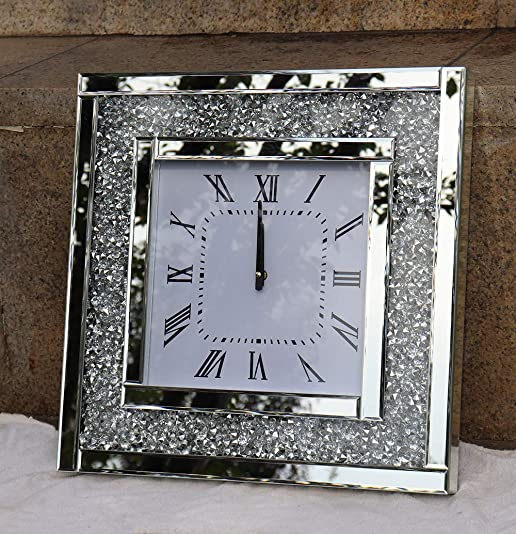 Crystal Sparkle Twinkle Bling Square Crush Diamond Mirrored Large Wall Clock