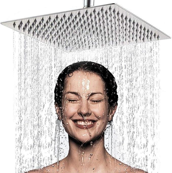 Alta Presión Montaje Fijo de Cabeza de Ducha de lluvia-8 Pulgadas/20cm Gran Cuadrada 304 de Acero Inoxidable Ducha de Spray - 1/2