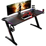 EUREKA ERGONOMIC Z60 Gaming Desk 60 inch Computer Desk Z Shaped Large PC Tables with RGB LED Lights Mouse Pad for E-Sport Rac