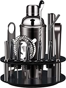 X-cosrack Bartender Kit: 18-Piece Matte Black Cocktail Shaker Set with Rotating Stand,Stainless Steel Bar Tools Set for a Fantastic Mixing Experience, Ideal as Gift or for Home
