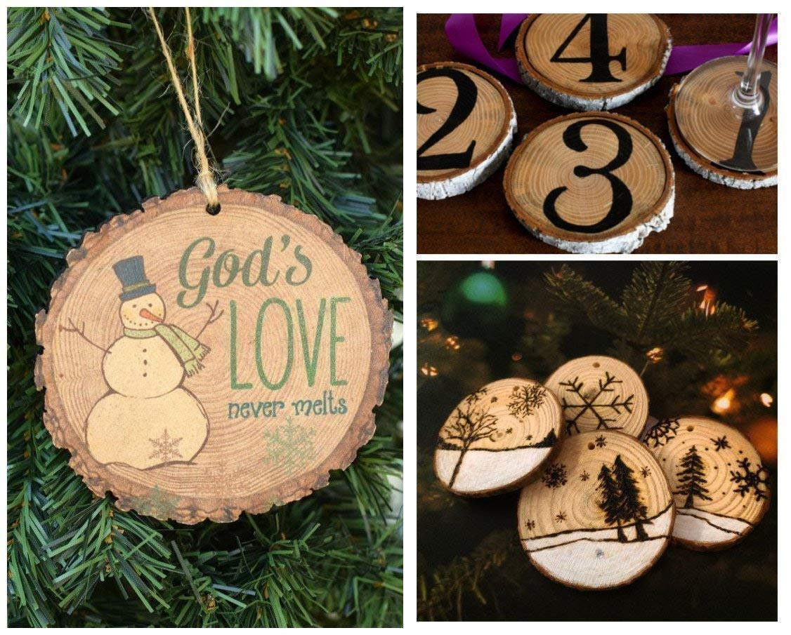 Natural Wood Slices 35 Pcs 2.4 2.8 Unfinished Wood Rounds with Holes Wood Circles for Crafts Christmas Ornaments DIY Crafts