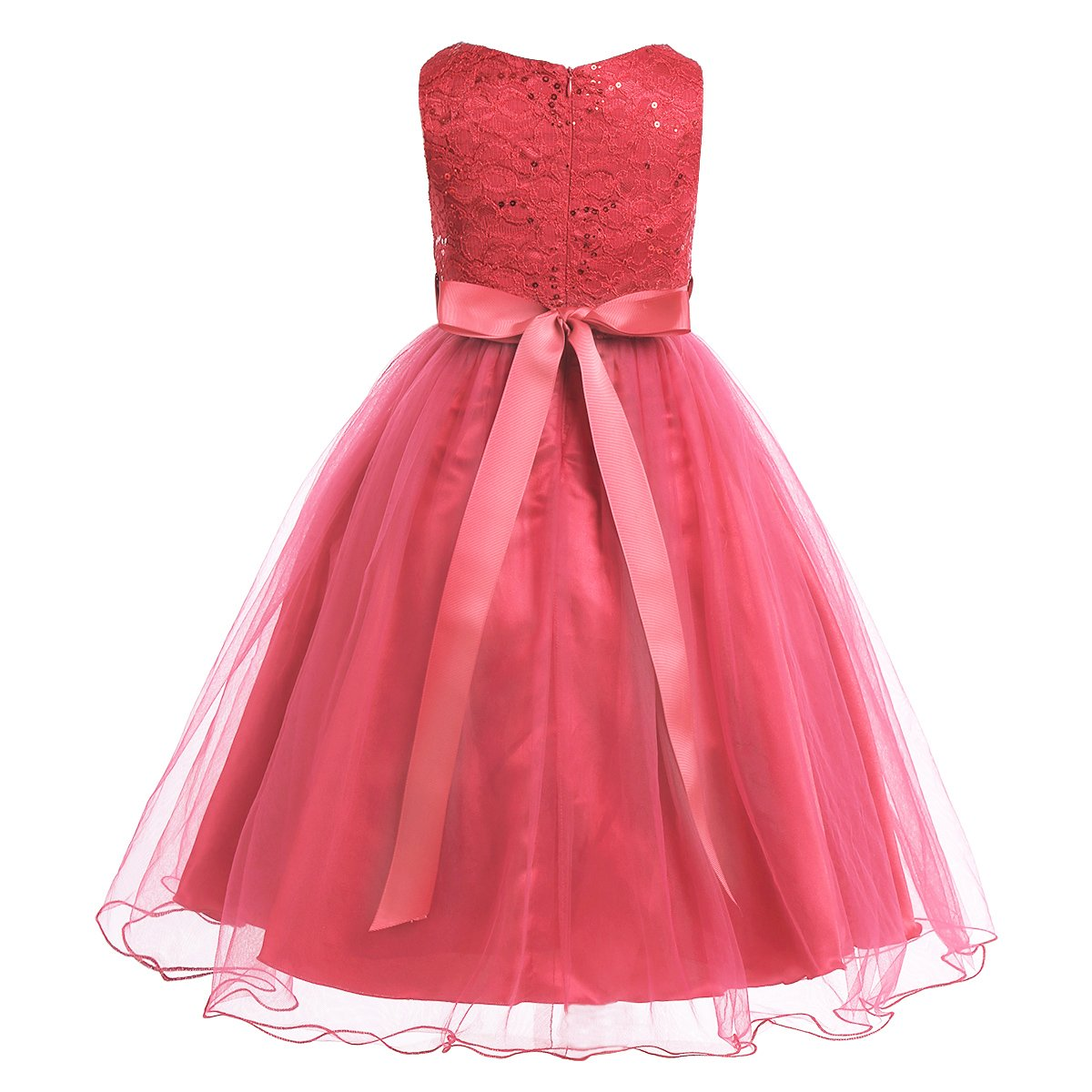 CHICTRY Kids Girls Glitter Sequins Top Wedding Pageant Party Ball Gown Flower Dresses with Rhinestones Sash