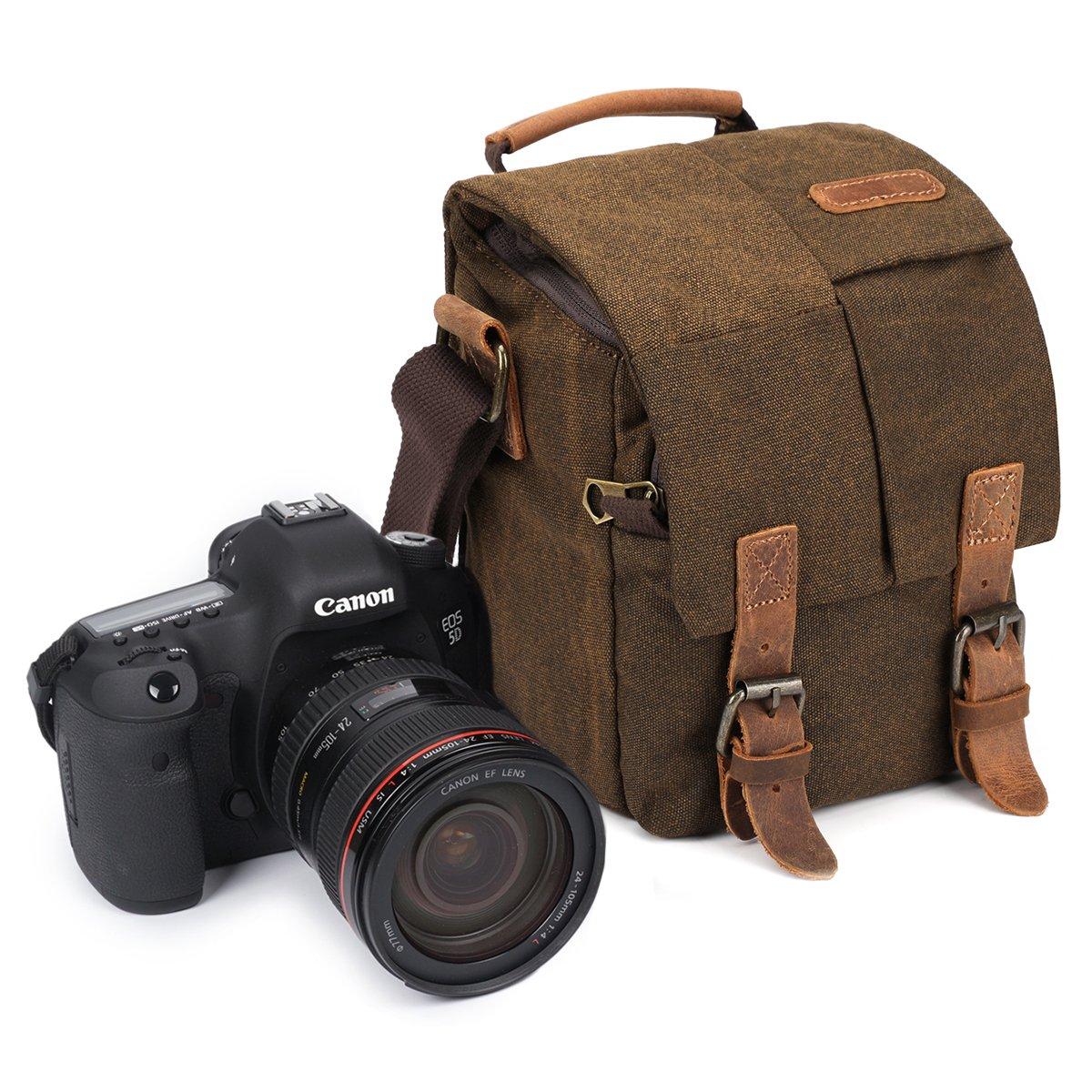 Samshows Vintage Waterproof Canvas Genuine Leather Trim DSLR SLR Shockproof Camera Shoulder Messenger Bag
