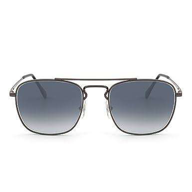 36d76cf5b Retro Square Sunglasses Premium Glass Lens Flat Metal Eyewear Men Women  (Silver/Gradient Grey): Amazon.co.uk: Clothing