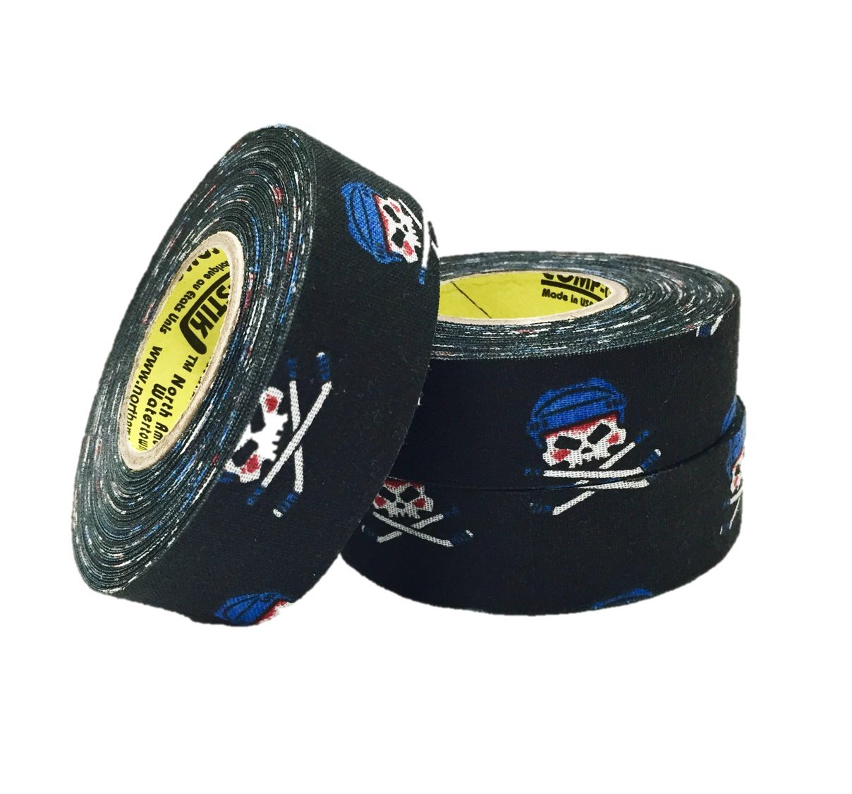 3 Rolls of Comp-O-Stik Skull & Crossbones Hockey Lacrosse Stick Tape ATHLETIC TAPE (3 Pack) Made In The U.S.A. 1'' X 60'