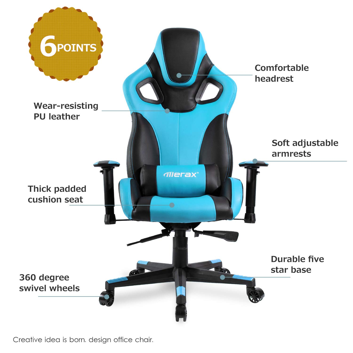 Merax Racing Style Office Chair Gaming Ergonomic with Adjustable Armrests Home Office Computer Chair Sky Blue Upgrade