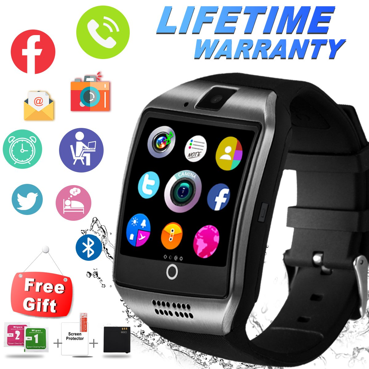 Bluetooth Smart Watch With Camera Sim Card Slot Touch Screen Smartwatch Unlocked Cell Phone Watch Sports Smart Wrist Watch For Android Phones Samsung Sony IOS I (Q-Black) by IFUNDA