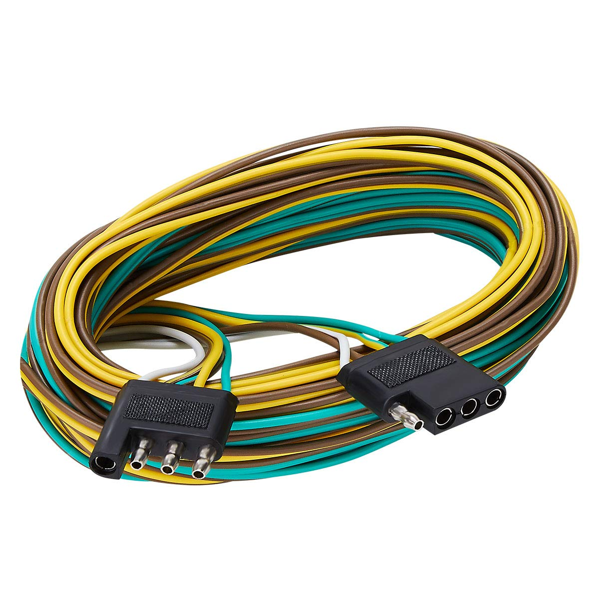 SUZCO Trailer Wiring Harness with 4-Flat Connector Extension, 25' Feet, 4-Way 4-Pin Plug Flat 20 Gauge – Hitch Light Trailer Wiring Harness Extender