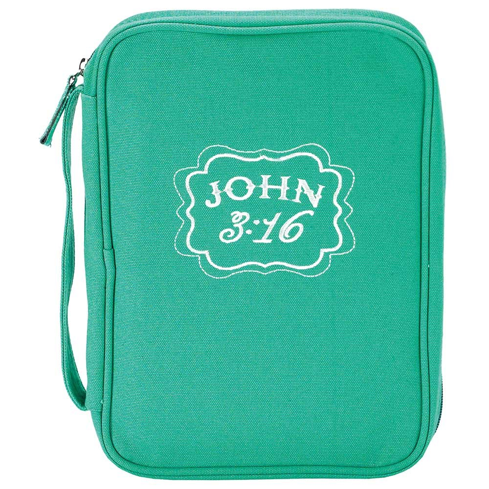 Teal John 3:16 Denier Polyester Fabric 7.5 x 10.5 Bible Cover Case with Handle