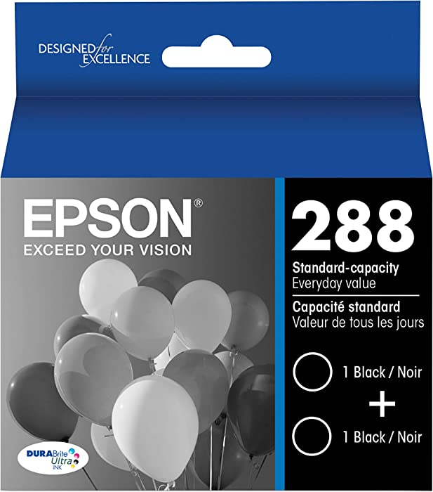 Epson T288120-D2 DURABrite Ultra Black Dual Pack Standard Capacity Cartridge Ink