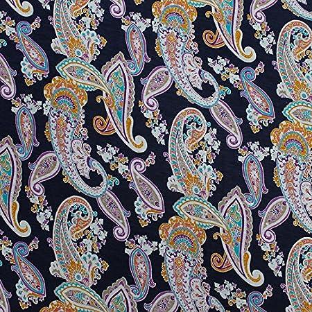 Stretch Rayon Jersey Knit Paisley Pattern 1 Yard