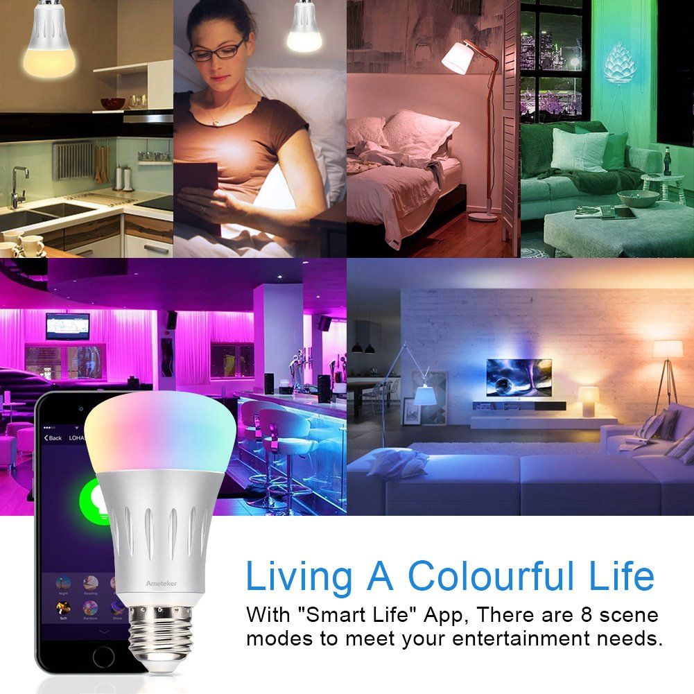 Amteker WiFi Smart Bulb - 7W RGBW Dimmable LED Bulb E27 Works with Alexa Echo, 60W Equivalent, Remote Control by Smartphone IOS & Android