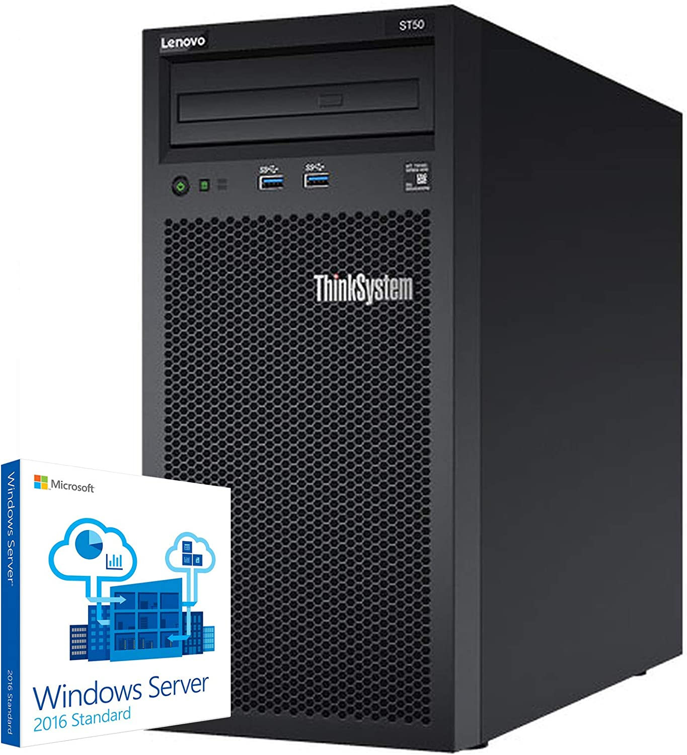 Lenovo ThinkSystem ST50 Tower Server Bundle Including Windows Server 2016, Intel Xeon 3.4GHz CPU, 32GB DDR4 2666MHz RAM, 6TB HDD Storage, JBOD RAID