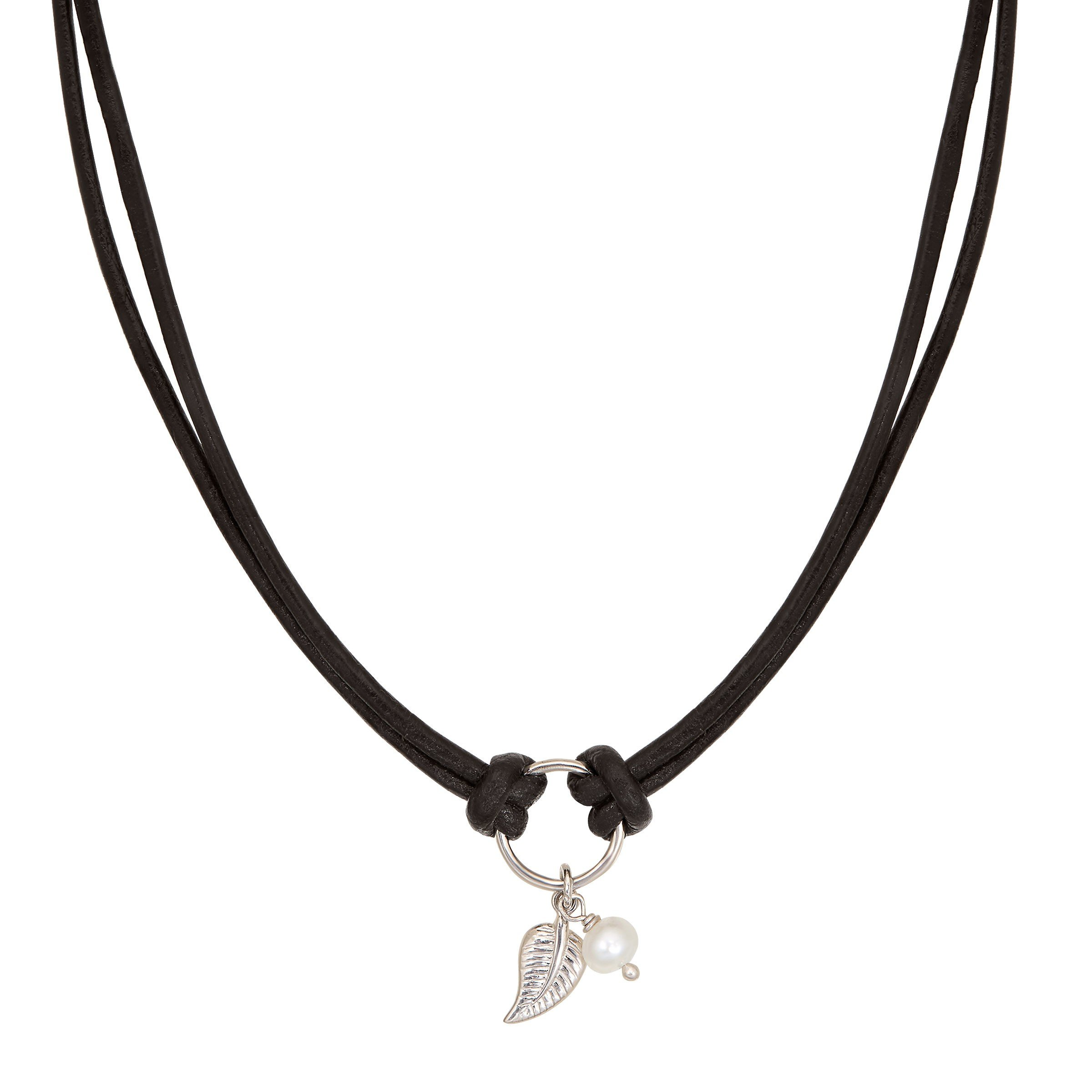 Silpada 'Modern Muse' 5 mm Freshwater Cultured Pearl Double Black Leather Choker in Sterling Silver