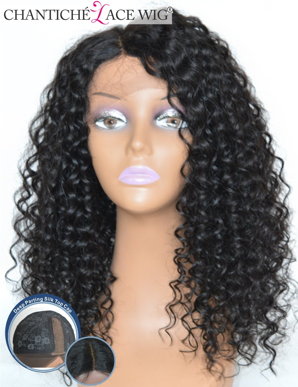 Chantiche Natural Looking Short Curly Silk Base Lace Front Wigs 150% Density 3.75'' Silk Top Invisible Right Deep Parting Brazilian Remy Human Hair Full Wig for African American Women 20 Inch #1B