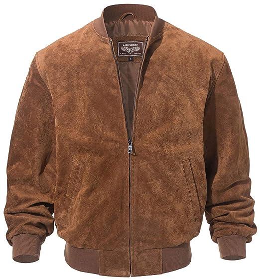 472806f16 FLAVOR Men's Leather Baseball Bomber Jacket Vintage Suede Pigskin
