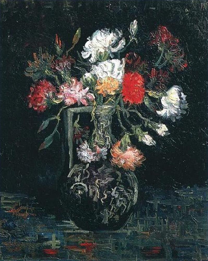 手描き-キャンバスの油絵 - Vase with White and Red Carnations フィンセントファンゴッホ 芸術 作品 洋画 ウォールアートデコレーション VVG2 -サイズ13 B07H7M8T5R  48 x 48 インチ