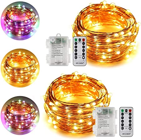 Set of 2 5M Copper Wire 50 LED String Lights 3xAA Battery Operated Light