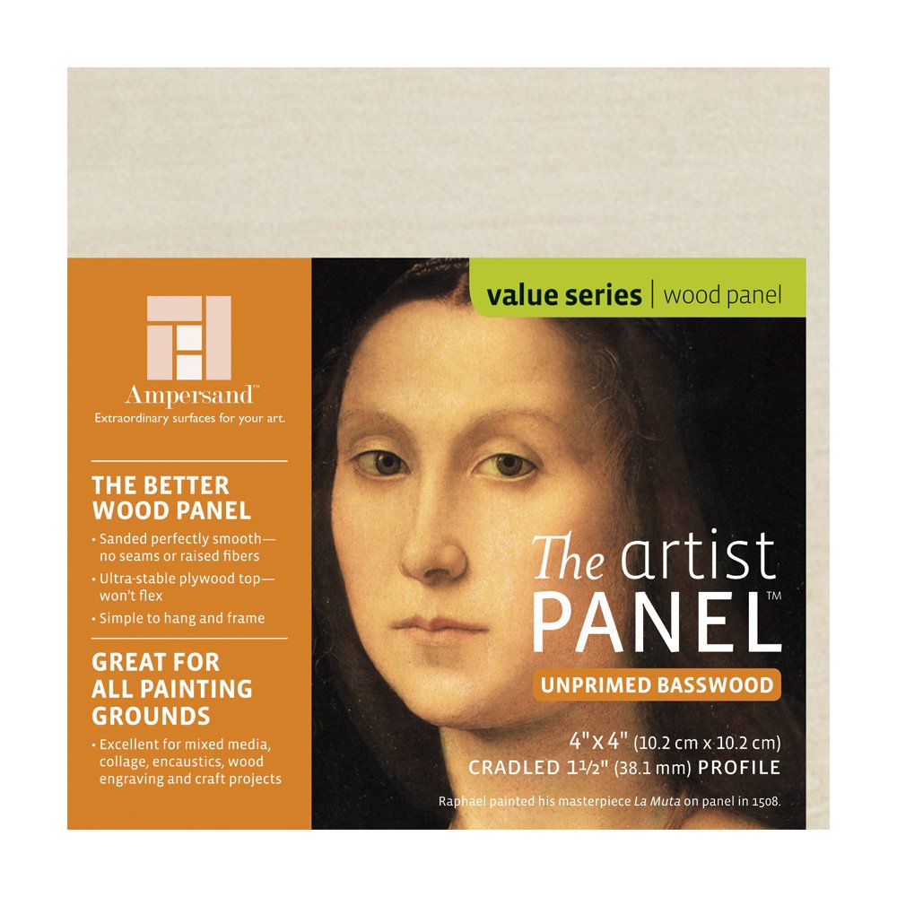 Ampersand Art Supply Unprimed Basswood Artist Panel 7//8 Cradled Profile 5x7,