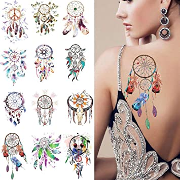 Ownsig 12 Sheets Waterproof Temporary Tattoos Dream Catcher
