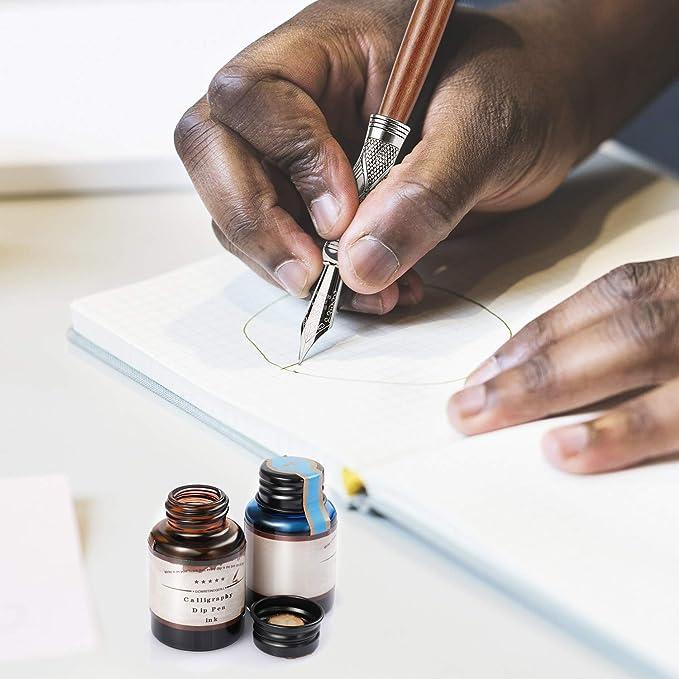dessin signatures 1 stylo plume en verre et 12 encres multicolores /écriture calligraphie d/écoration et cadeau GC-17 GC Ensemble de stylos en verre pour cartes de v/œux affiches