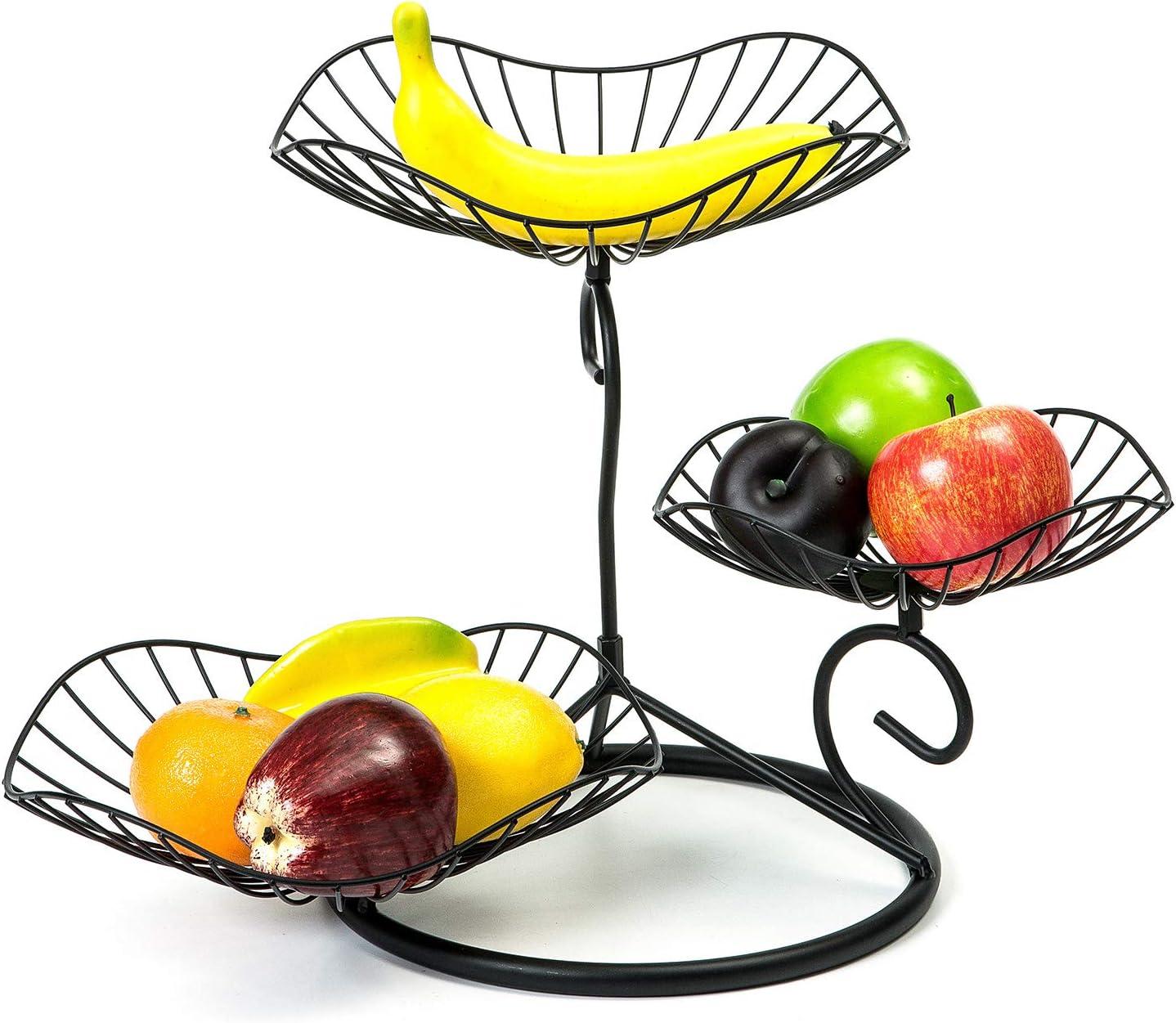 mossFlos 3-Tier Fruit Basket Holder, Decorative Fruit Bowls Stand Morden Style, Easy Installation - Black