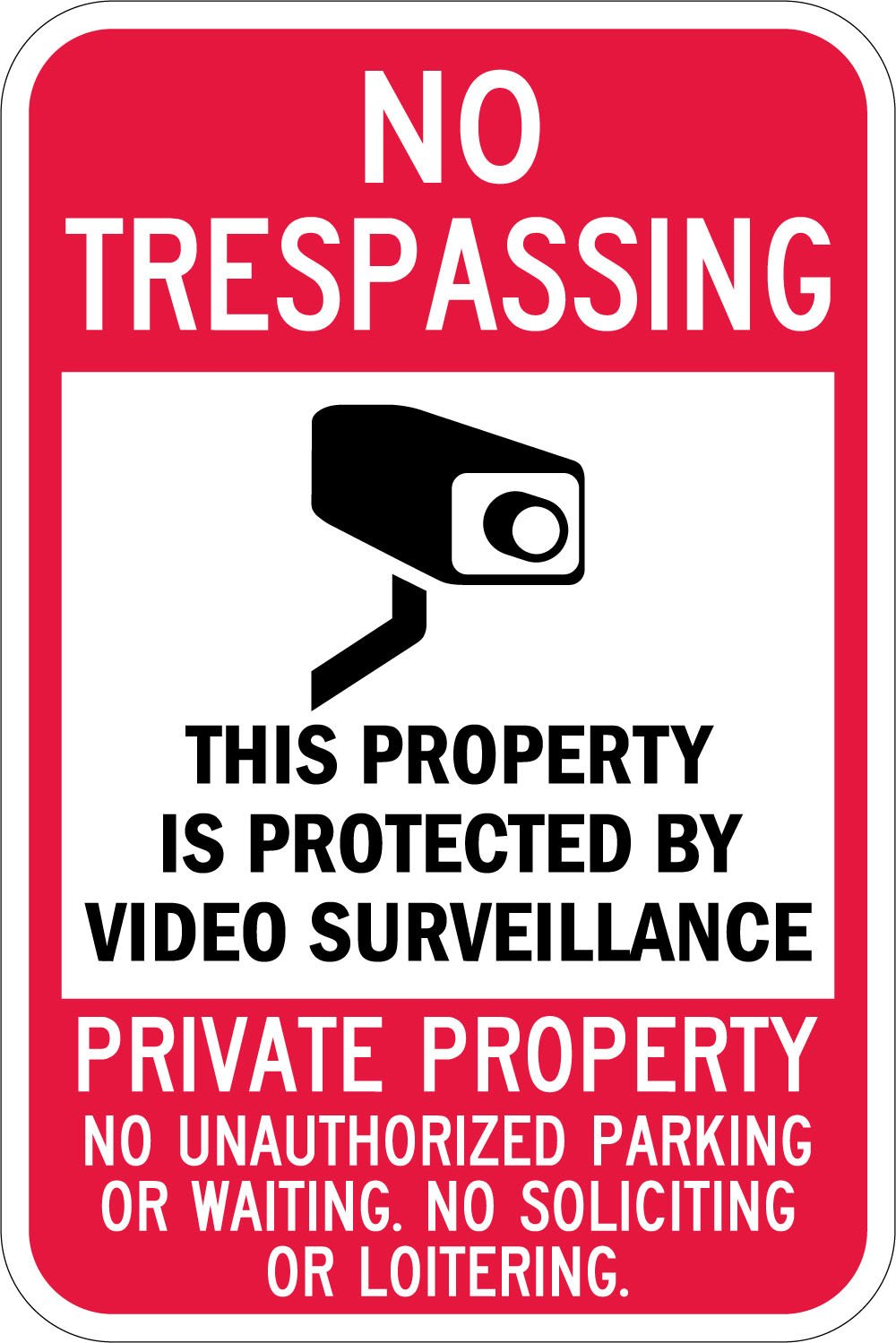 SmartSign 3M Diamond Grade Reflective Aluminum Sign, Legend No Trespassing-Video Surveillance with Graphic, 18' High X 12' Wide, Black/Red on White 18 High X 12 Wide Lyle Signs Inc T1-1084-DG_12x18