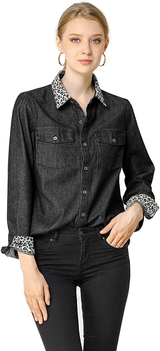 YYear Men Casual Leopard Printed Slim Fit Long Sleeve Button Up Dress Shirt Top