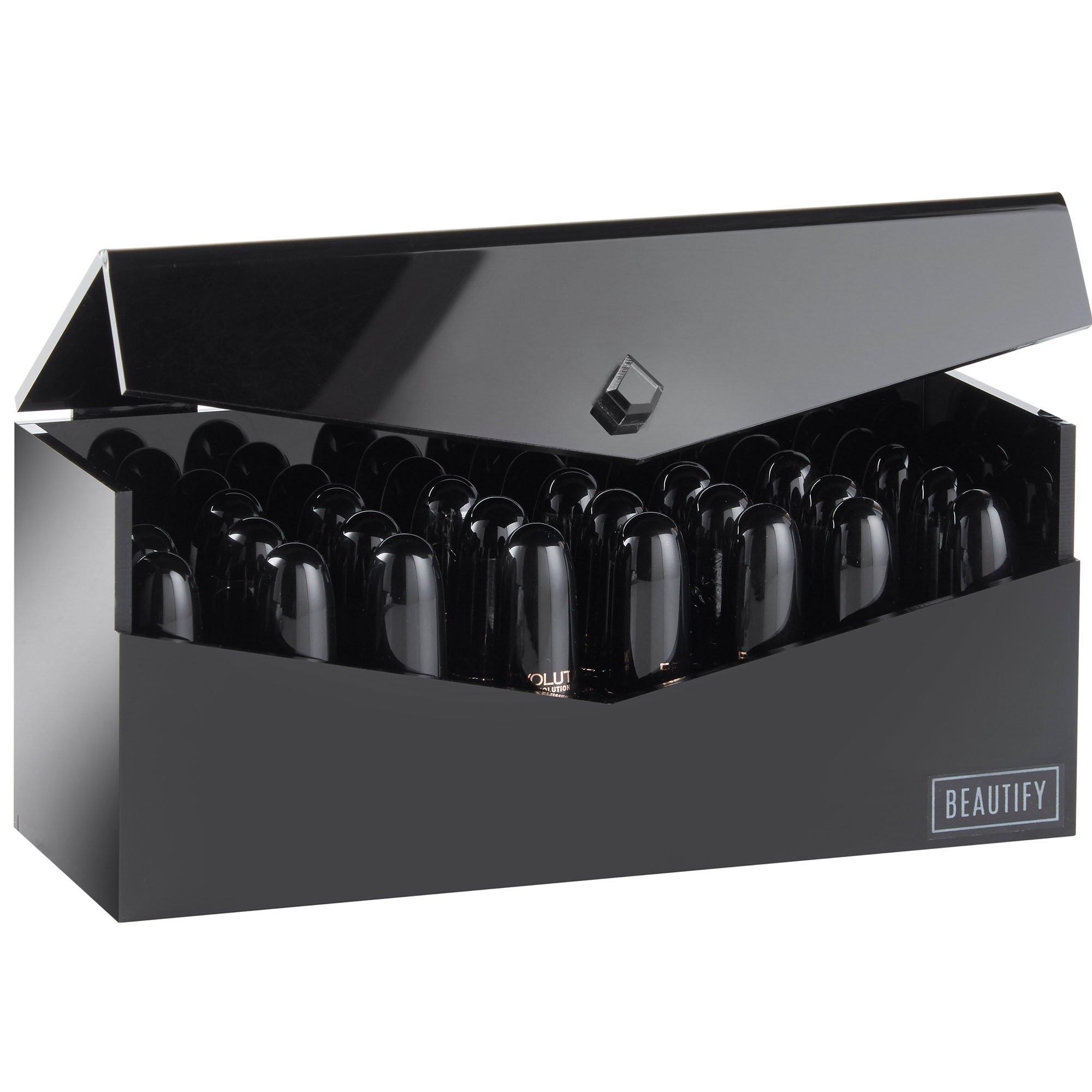 Beautify Black Acrylic 24 Slot Cosmetic Mac Lipstick Holder Case Storage Makeup Organizer with Lid