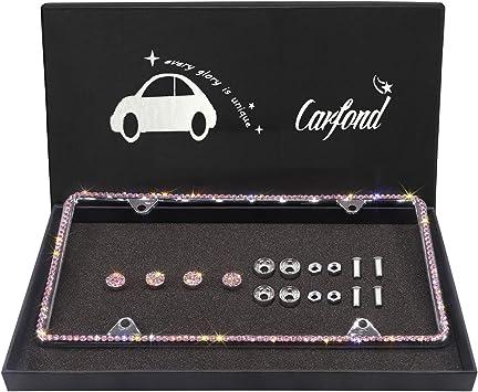 Orion Motor Tech 2 Pink Bling Crystal Rhinestone License Plate Frames Screw Caps