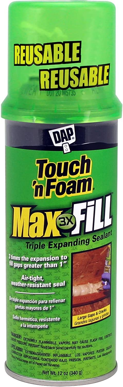 DAP 7565000043 Touch 'n Foam 4001031212 MaxFill Maximum Expanding Sealant, 12Oz, Tan, 12 Ounces