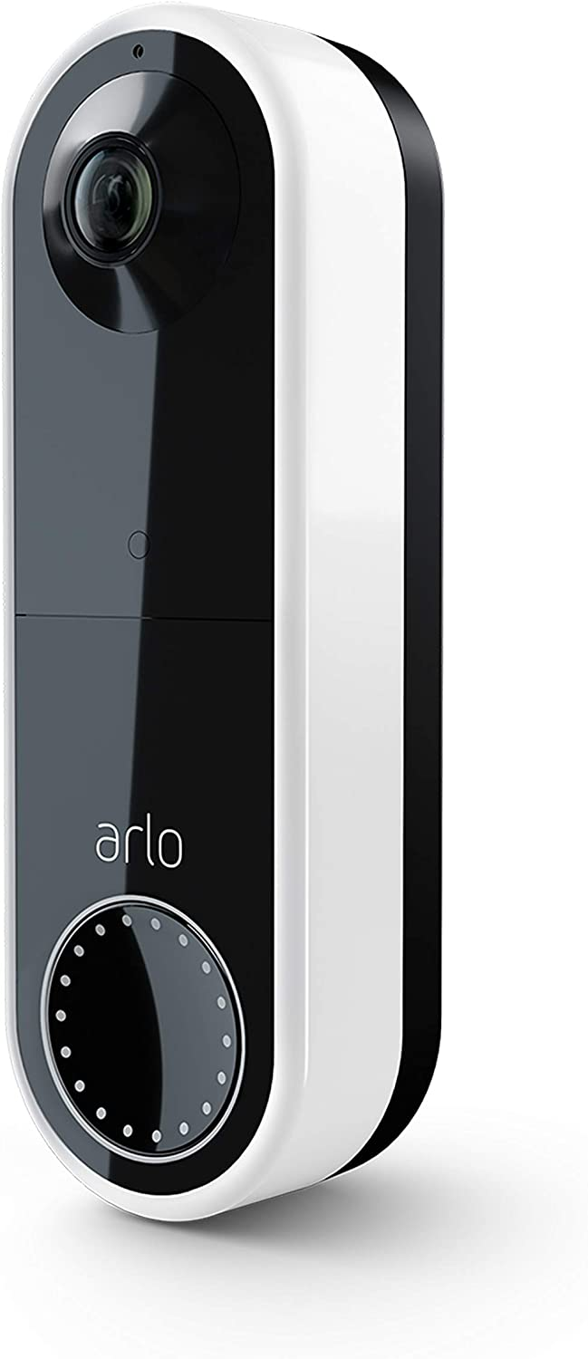 Arlo Essential Video Doorbell Wire-Free | HD Video Quality, 2-Way Audio, Package Detection | Motion Detection and Alerts | Built-in Siren | Night Vision | Wire-Free or Wired | AVD2001 | White