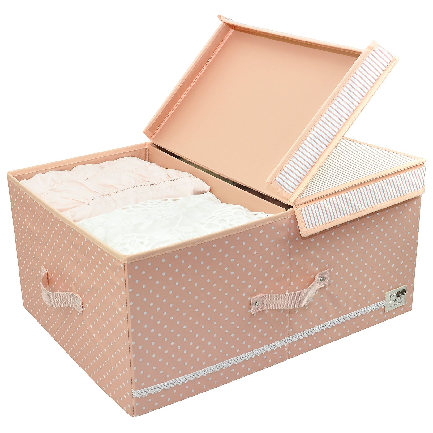 Cloth Organizer Storage Boxes with Lids and Removable Dividers, Folding Storage Bins and Cute Color for Girls, Peachy