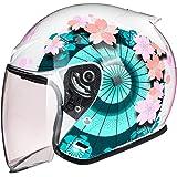 Vintage Style Open Face Helmet, 3/4 Adult Retro Motorcycle Half Helmet with Sun Visor DOT Certified Men Women Summer Scooter