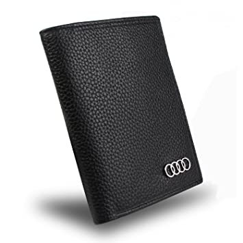 Genuine Leather Audi Bifold Wallet With 3 Credit Card Slots And ID Window
