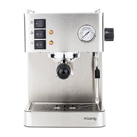 H.Koenig EXP530 Cafetera Expresso, 1450 W, 1.7 litros, Acero Inoxidable,