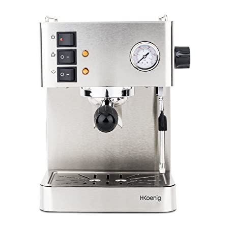 H.Koenig EXP530 Cafetera Express Espresso Profesional, 15 Bares, 1.7 L, 1450 W,Vaporizador Orientable, Doble Salida, Acero Inoxidable EXP350, 1.7 ...