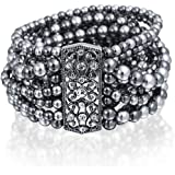 Bling Jewelry Multi Strand Simulated Grey Pearl Bracelet Rhodium Plated