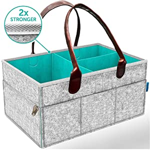Baby Diaper Organizer Caddy for Changing Table - Baby Needs for Newborn   Nursery Diaper Tote Bag   Large Portable Car Travel Organizer   Boy Girl Diaper Storage Bin  Baby Shower Gift Basket