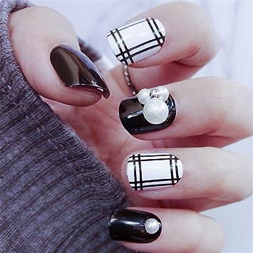 24 pcs/set falso uñas cuadrado con Glitter Strass Perla, brawdress mujeres niñas falso uñas artificiales Manicura Decoración Accesorios Color Negro 7 ...