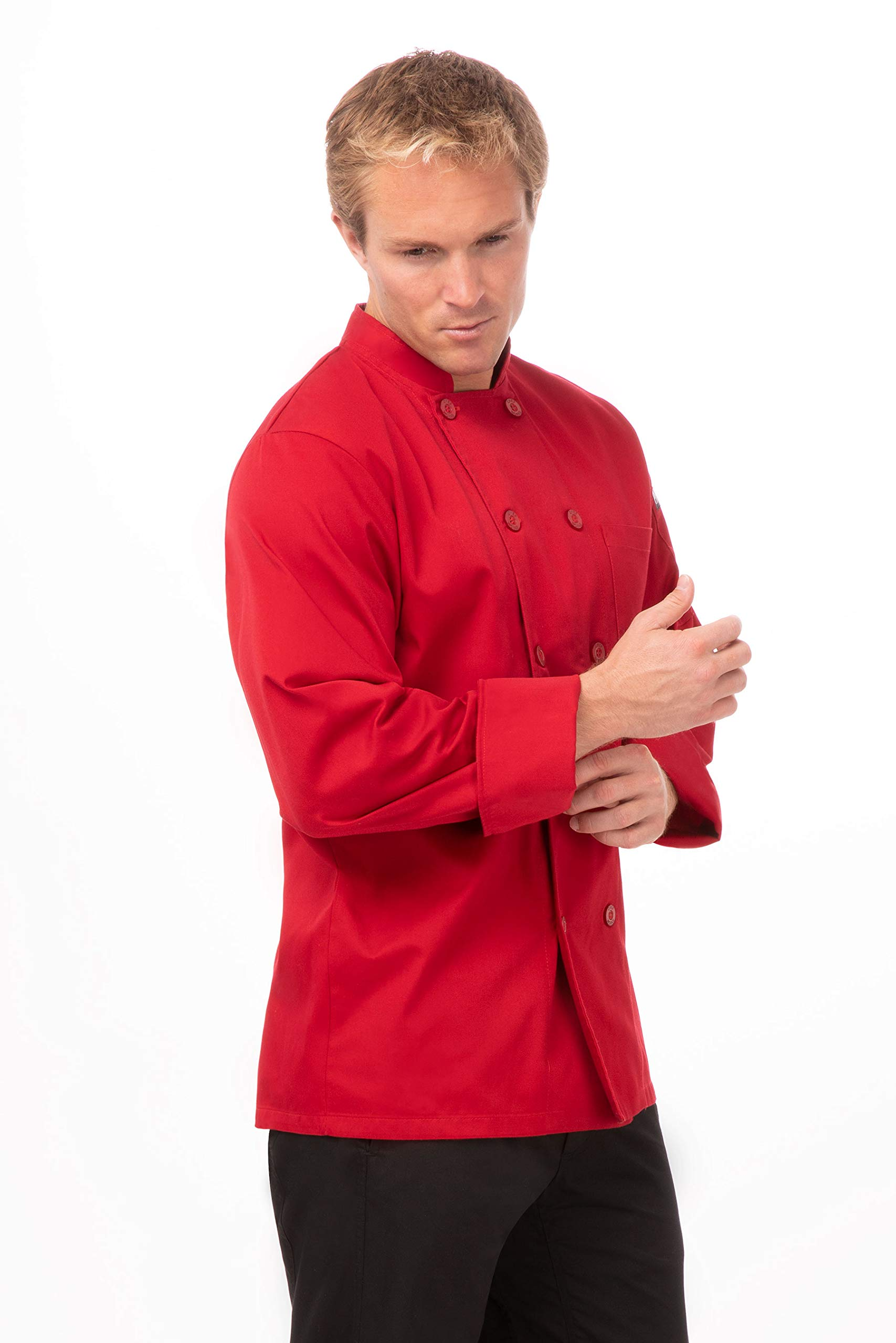 Chef Works Unisex Nantes Chef Coat, Red 3X-Large by Chef Works